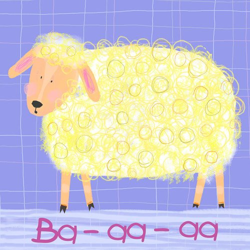 Oopsy Daisy Sheep Says Ba-aa-aa Stretched Canvas Wall Art by Amy Schimler, 10 by 10-Inch
