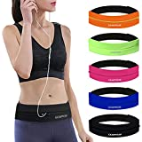 GEARWEAR Runners Running Belt Waist Pack for iPhone 8 X 7 Plus Women Men Workout Pocket Belts Phone Holder Waistband Samsung Galaxy Note S8 S7 for Wallking Fitness Jogging Black Zipper (Color: Black/27