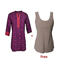Geroo Women's Round Neck Tops With Pink top Free