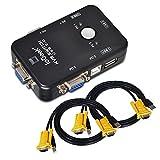 ieGeek 2ポートUSB2.0 KVM VGAスイッチボックス切替機 パソコン切替器