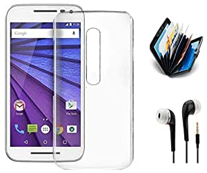 Tidel Silicon TPU Transparent Soft Back Cover For Motorola Moto G Turbo Edition With 3.5mm Earphone & Credit Card Holder