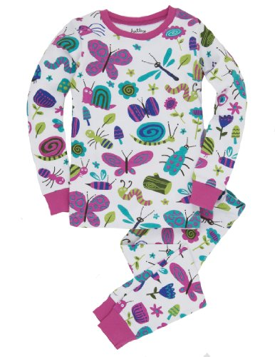 Hatley Big Girls' Girly Bugs Pajama Set, White, 12 front-990638
