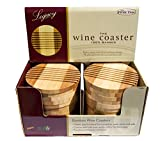Picnic Time Bamboo Coasters, Beautiful, Entertaining Tabletop Wine and Hot and/or Cold Beverage Coasters (6)