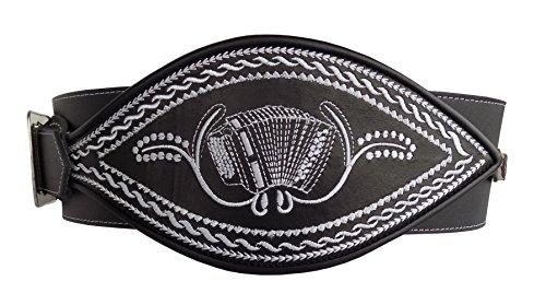 Ranzengrtel-Trachtengrtel-Ziehharmonika-Akkordeon-Federkiel-Optik-schwarz-Gr-95cm-125cm