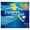 Tampax Pearl Active Plastic Regular Absorbency Unscented Tampons 36 Count- Packaging May Vary