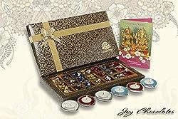 Diwali Gifts - Joy Chocolates Belgian Assorted Chocolates 21 pc with Metal Diya
