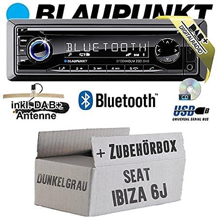 Seat Ibiza 6J Dunkelgrau - BLAUPUNKT Stockholm 230 DAB - DAB+/CD/MP3/USB Autoradio inkl. Bluetooth - Einbauset