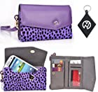 ZTE Fury / Director Leopard Violet | Purple Wallet Cell Phone Cover Case + NuVur +#153; Keychain (ESMLMKU1)