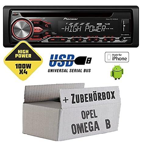Opel Omega B - Pioneer DEH-4800FD - HighPower 4x100 Watt CD/MP3/USB Autoradio - Einbauset
