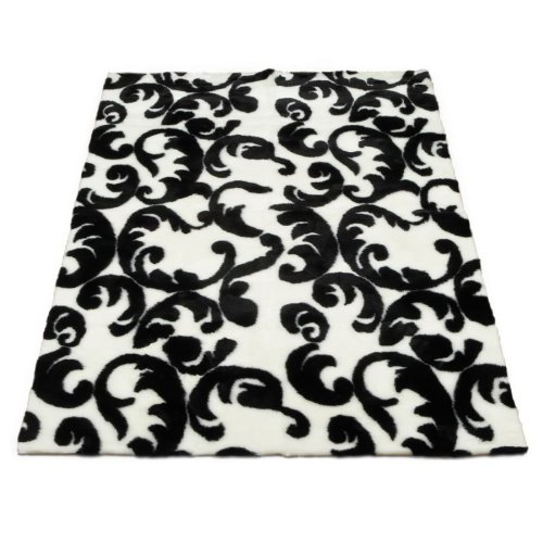 Black on White Flourish Abstract | Faux Fur Rug | 5 foot X 7 foot