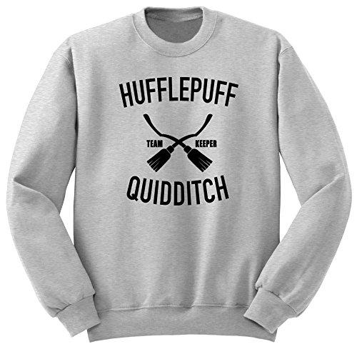 Hufflepuff Quidditch, Harry Potter Sweatshirt, Hogwarts Felpe SW44 (L, Grigio)