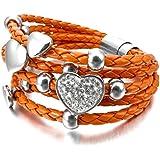 MunkiMix Edelstahl Glas Leder Armband Armreifen Geflochten Orange Silber Herz Magnet Schließe Verschluss Klassiker Damen