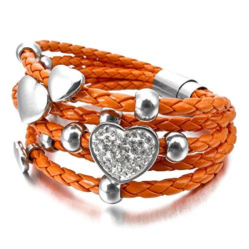 munkimix-edelstahl-glas-leder-armband-armreifen-geflochten-orange-silber-herz-magnet-schliesse-versc