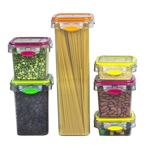 Food Storage 12 Piece Air Tight Set Colorful Plastic Container, Pantry, Snacks, Fruits (Food Pantry Containers compare prices)