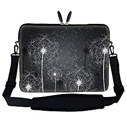 Meffort Inc 17 17.3 inch Neoprene Laptop Sleeve Bag Carrying Case with Hidden Handle and Adjustable Shoulder Strap - Black White Dandelion Design