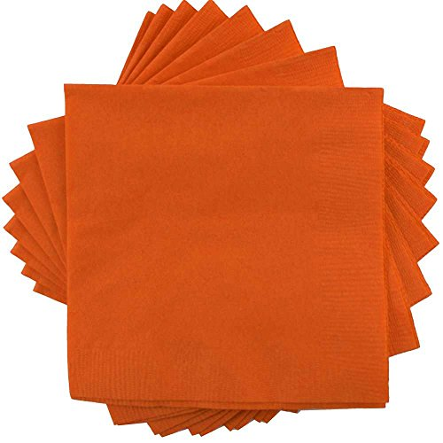 JAM Paper Lunch Paper Napkins - 6 1/2 x 6 1/2 - Orange - 50/pack