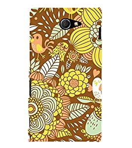 Floral Fruits 3D Hard Polycarbonate Designer Back Case Cover for Sony Xperia M2 Dual D2302 :: Sony Xperia M2