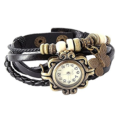 Caratcube Elegant Black Leather Vintage Butterfly Bracelet Watch For Women (CTC - 27)