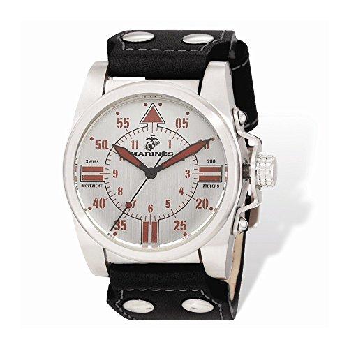 Wrist-Armor-Mens-WA106-C1-Stainless-Steel-Analog-Display-Swiss-Quartz-Watch-with-Black-Leather-Strap