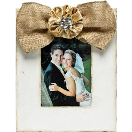Caffco International Metal Picture Frame with Burlap Bow Memorabilia Magnet, Holds a 5 by 7-Inch Photo, Antique White