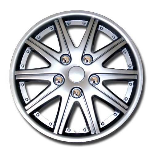 TuningPros WSC-027S14 Hubcaps Wheel Skin Cover 14-Inches Silver Set of 4 (Hubcaps For Toyota Yaris 14 Inch compare prices)