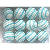 Queens Of Christmas WL-ORN-12PK-LN-AQ 12 Pack Ball Ornament With Line Design, Aqua/White