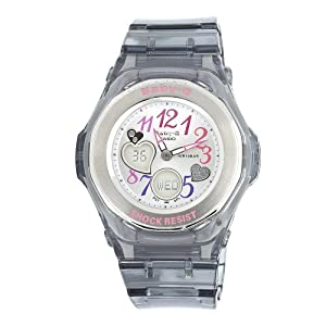 Casio Women's BGA101-8B Baby G Multi Color Dial and Clear Grey Resin Strap Watch