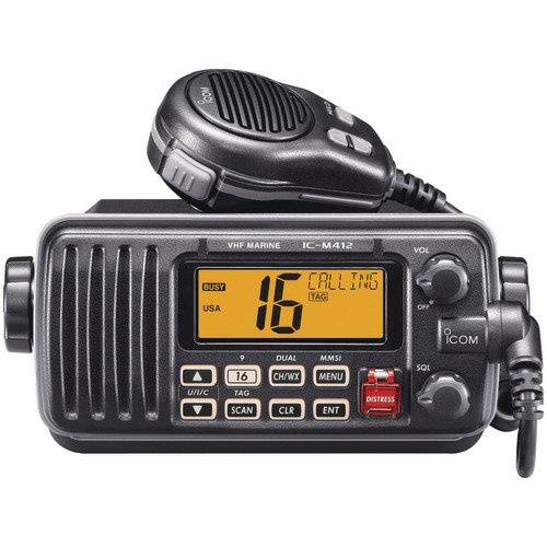 Icom M412 11 Fixed-Mount 25W VHF Marine Radio with Class D DSC (Black)