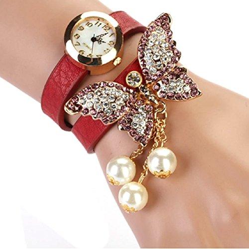 Zps(Tm) 1Pc Women Faux Pearls Rhinestone Butterfly Bracelet Quartz Analog Watch (Red)