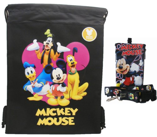 Disney Mickey Mouse and friends Black Drawstring Bag and Lanyard - 1