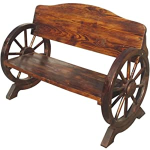 Beautifully Crafted Burnt Wood Garden Wooden Bench 2 3