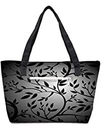 Pack Of 2 Black Trees Seamless Vector Wallpaper Combo Tote Shopping Grocery Bag With Coin Pencil Purse