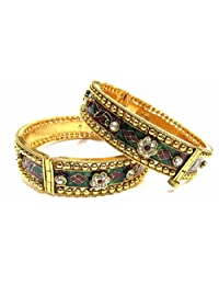 Shingar Jewellery Ksvk Jewels Antique Gold Plated Bangles Set For Women (5971-m-2.8)