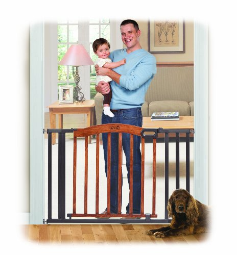 Summer Infant Decorative Wood & Metal 5 Foot Pressure Mounted Gate, Brown/Black