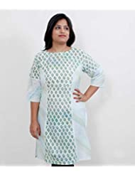 Viniyog Women Hand Block Printed Cotton White Kurti