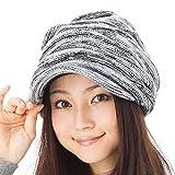 小顔効果 くしゅッとニットキャスケット 帽子 レディース 大きいサイズ 帽子 メンズ 秋冬 つば付き ニット つば長 つば広 耳あて代わりの防寒対策 【フリーサイズ(約57-63cm)-ブラックホワイト】