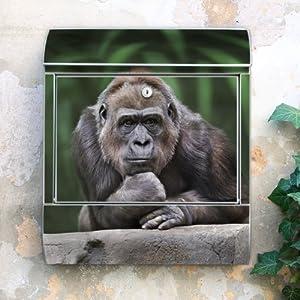 Design Briefkasten 38x42x11 von banjado mit Motiv Gorilla