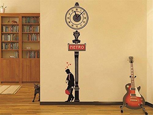 ufengke-fai-da-te-retro-segno-della-metropolitana-signore-amore-romantico-orologio-da-parete-adesivi