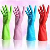 Set of 4 Pairs - ZICOME Reusable Waterproof Household Antibacterial Latex Gloves for Kitchen Dish Washing Laundry Cleaning, Medium (4 Colors)