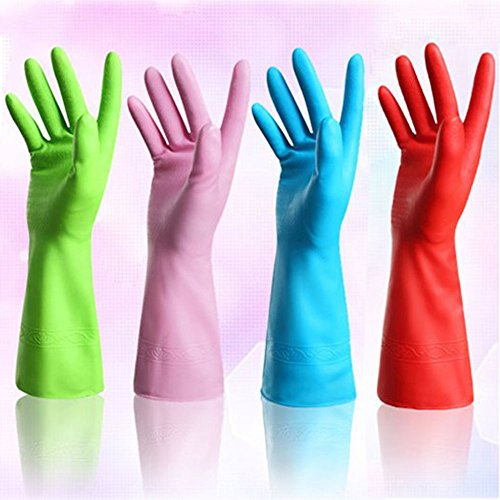 Set of 4 Pairs - ZICOME Reusable Waterproof Household Antibacterial Latex Gloves for Kitchen Dish Washing Laundry Cleaning, Medium (4 Colors) (Rubber Gloves For Dishwashing compare prices)
