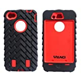 Meaci® Iphone 4 4s Case 3in1 Tire Stripe Combo Hybrid Defender High Impact Body Armorbox Hard Pc&silicone Case (red)