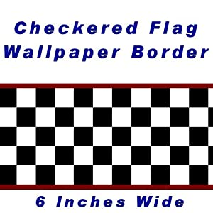 Checkered Flag Cars Nascar Wallpaper Border-6 Inch (Red Edge), Garden, Lawn, Maintenance by Outdoor&Lawn