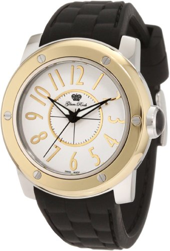Glam Rock 0.96.2659 Unisex Quartz Watch with White Dial Analogue Display and Black Silicone Strap GR50003