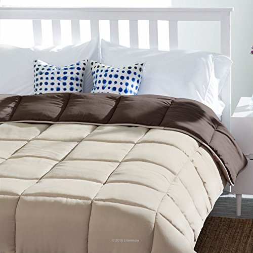 LINENSPA Reversible Down Alternative Quilted Comforter with Corner Duvet Tabs - Sand/Mocha - Full (Full Comforters compare prices)