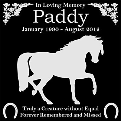 "Personalized Pet Horse Memorial 12""x12"" Engraved Black Granite Grave Marker Head Stone Plaque PAD1"