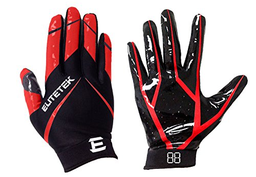 EliteTek RG-14 Football Gloves Youth and Adult (Red, Youth L)