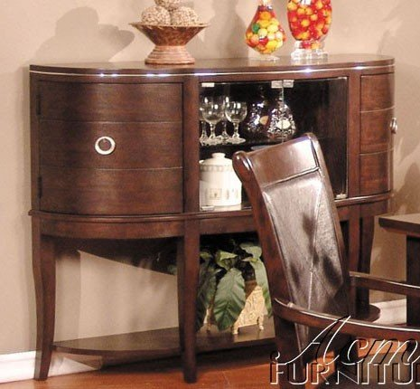 Cheap Server Sideboard with Glass Doors Chocolate Cherry Finish (VF_AM1713)