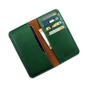 i-KitPit : Genuine Leather Wallet Flip Pouch Case For Lava Xolo A500s (GREEN)