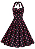 Anni Coco Women's Marilyn Monroe 1950s Vintage Halter Swing Tea Dresses Black & Rose red Polka Dots Small