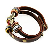 Real Spark Teens Brown Leather Collorful Beads Vintage Snap Button Butterfly Pendant Wrap Bracelet